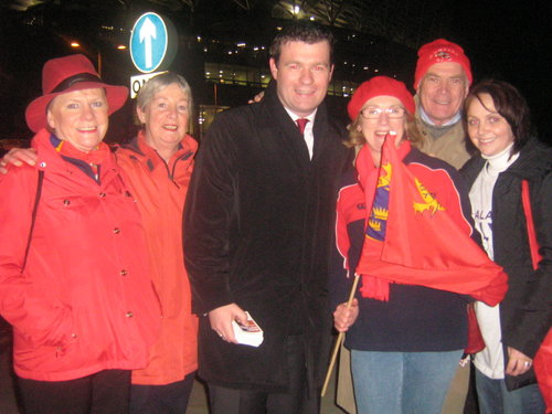 With Jan O Sullivan and Friends Campaigning at the Munster All Blacks Match