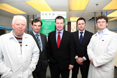 HKPB Launch - Pictured at the announcement of HKPB Scientific's new facility at Lisbunny Industrial Park, Nenagh, County Tipperary are (left to right) Paul Rigby, Dr Donncha Haverty, MEP Alan Kelly, David O'Flynn and Dr Joe Murray.
