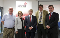 Dell Workers with Labour Party - 04/06/10(left to right) Gerry Henchy, Dell Workers Association, Jan O'Sullivan TD, Eamon Gilmore Labour Party Leader, Denis Ryan, Dell Workers Association and Alan Kelly MEP at An Interview with Eamon Gilmore - event in Thomond Park, Limerick on Thursday 3rd June 2010