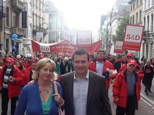 With Nessa Childers MEP at Anti Austerity March in Brussels