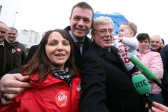 AlanEamonAoibhe - Alan Kelly with wife Regina, Eamon Gilmore and little Aoibhe