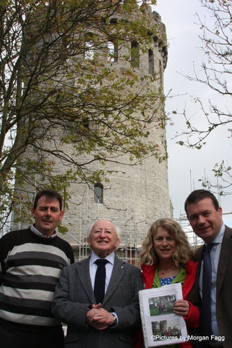 Cllr's Virginia O'Dowd, Lalor McGee, Michael D and I at Nenagh Castle